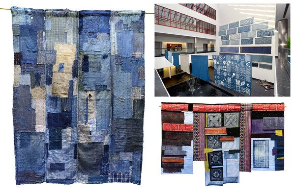 "Left: A futon cover of indigo-dyed cotton, from the late 19th to early 20th century, in the ""Seas of Blue"" show. Top right: Part of the exhibition space. Bottom right: ""Homage to the Hmong"" by Leonie Castelino, of cotton, batik and indigo dye. Credit Kathy Kmonicek for The New York Times.  Seeing Asian Cultures, Through an Indigo Lens - NYTimes.com"