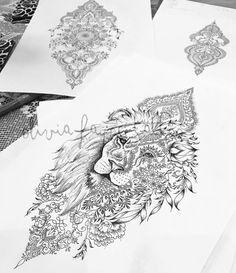 Mandala Lion Women's Tattoo Strong Independent