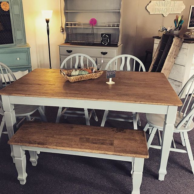 Simply Unique Furniture Redid This Farm Table, Bench And Chairs In Manatee  Gray! #