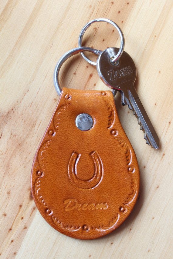 Handmade Dream Horseshoe Leather Keychain by Tina's Leather Crafts on Etsy.com.  Repin To Remember.