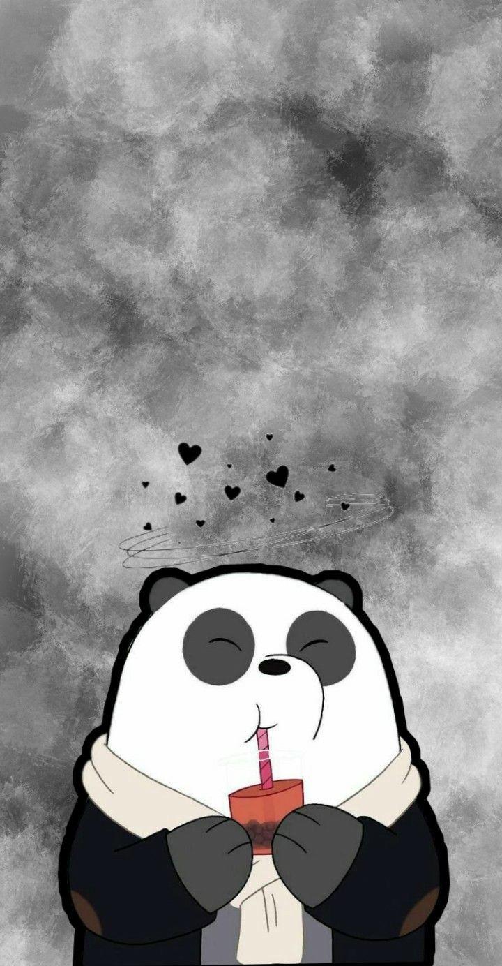 Panda Ilustrasi Karakter Gambar Hewan Lucu Lukisan Galaksi Cute black panda wallpaper