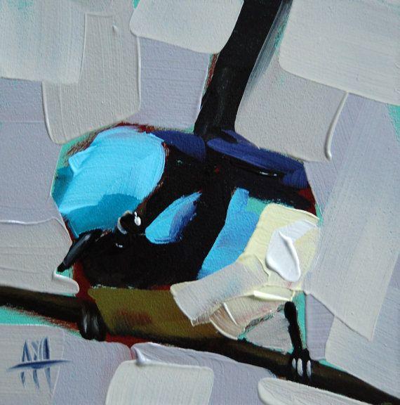 Fairy Wren no. 17 original bird oil painting by Moulton 4 x 4 inches on panel  prattcreekart