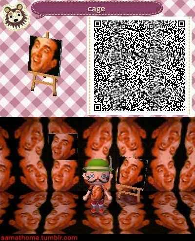 hahahah nicholas cage qr code(: This worst thing ever. | 24 Rudest Things In Animal Crossing