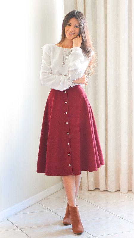 3675d5706 Saia Midi Canelada Marsala | skirts pretty | Saias, Roupas da igreja ...