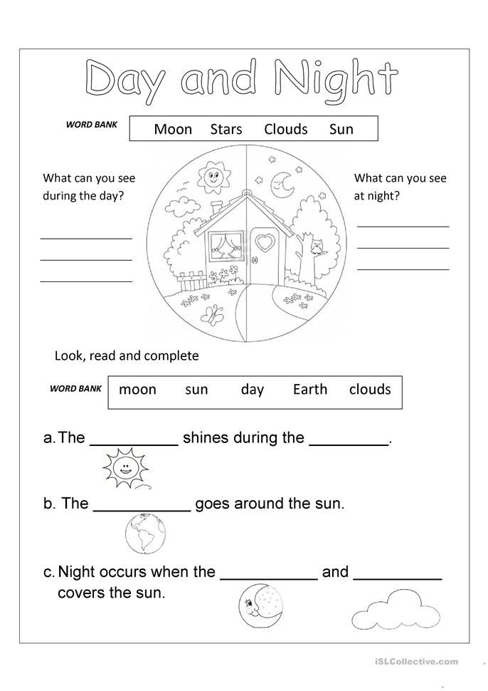 Day And Night Free Science Worksheets Science Worksheets