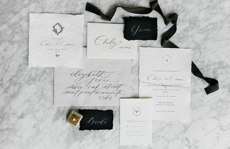 marble elegant simple matte black wedding invitation