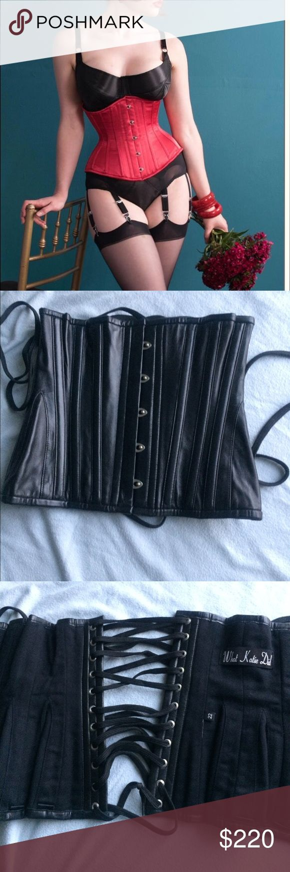 """Genuine BLACK LEATHER corset. Worn once! This is a gorgeous hand crafted corset from What Katie Did. Mint condition. The corset is black, not red. It is a size 22 based on WKD's measurements. I am about a size 6. Look at their website to understand how to size yourself. I believe this can fit a 30-26"""" waist but better to view the website or call them. This was a custom piece in black leather. Every woman should have one of these in their arsenal! Totally sexy. Im only giving this up because…"""