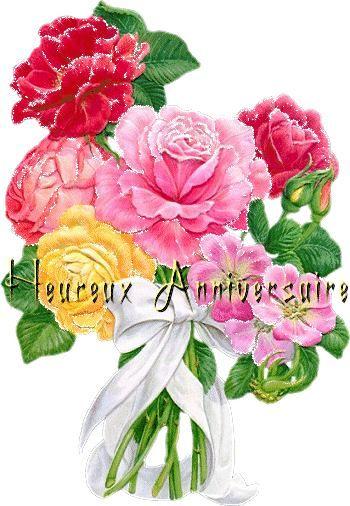 Belle des fleurs colorées: Heureux Anniversaire