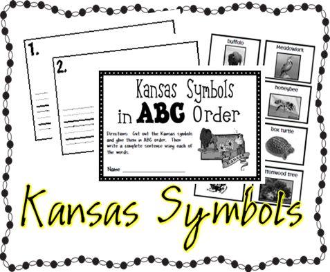 First Grade Kansas Day activities made by Kansas teachers! Kansas Symbols ABC order, KS sentence scramble, map of Kansas, basketball math activity, and KS art
