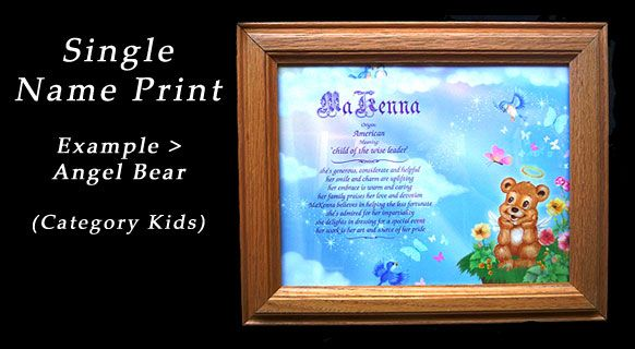 """Single Name First Name Meaning Prints from $8 USD  We specialize in personalized """"First Name"""" prints that tells a name's origin, meaning and positive personality traits.  Phone: (360)-698-2845
