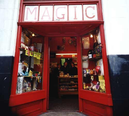 Magic, London, England, United Kingdom, 1975, photograph by John Londei. Ron MacMillan opened his Fun Shop in 1962. In the basement he prepared and demonstrated illusions to professionals. The shop is now run by Ron's son Martin.