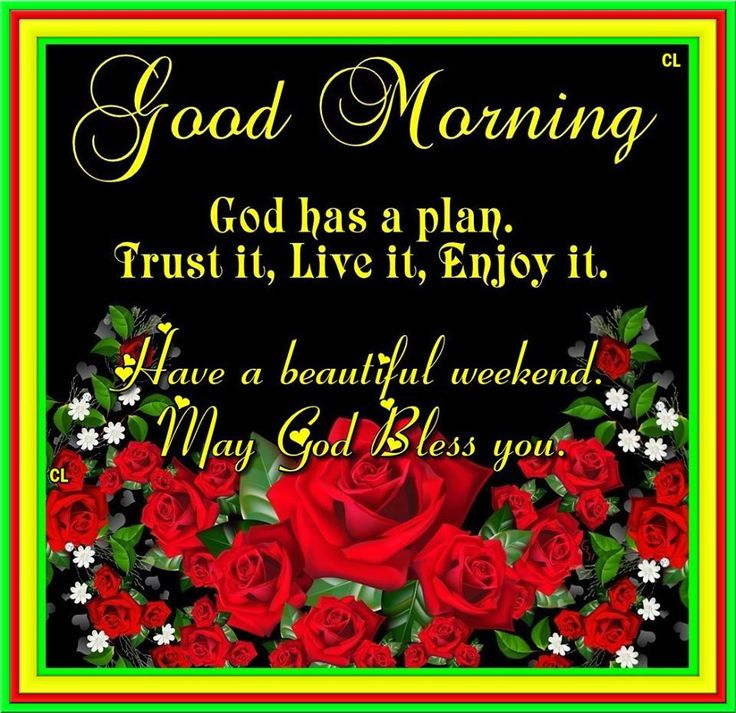 Good Morning,Have a beautiful weekend. may God bless you!