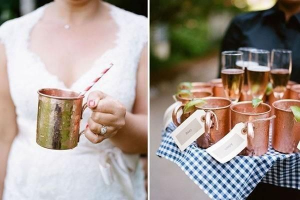 Copper mugs that can double as escort cards, perfect for a luxury autumn wedding | Saved from: MyWedding.com