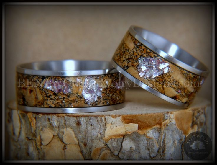 Drum roll for Bentwood Rings Se...   Here it is: http://www.bentwoodjewelrydesigns.com/products/bentwood-rings-set-figured-brown-amtheyst-mediterranean-oak-burl-on-surgical-steel-core?utm_campaign=social_autopilot&utm_source=pin&utm_medium=pin
