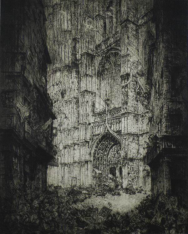 Jules de Bruycker, La Cathedrale d'Anvers, etching
