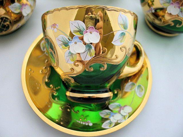 Italian Glass Tea Cups | Details about Bohemian Czech Glass Gold Enamel Flower Tea Set w/label