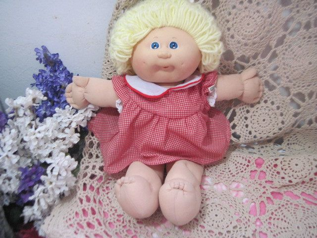 Darling Cabbage Doll with Looped Yellow Hair and Dimples by Daysgonebytreasures on Etsy