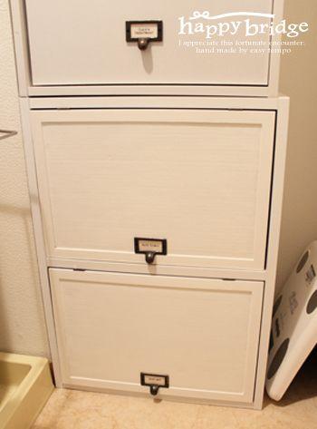 市販のアイテムでカラーボックスを使い易く♪ - DIY 20130322カラボリメイク_パタパタ扉1