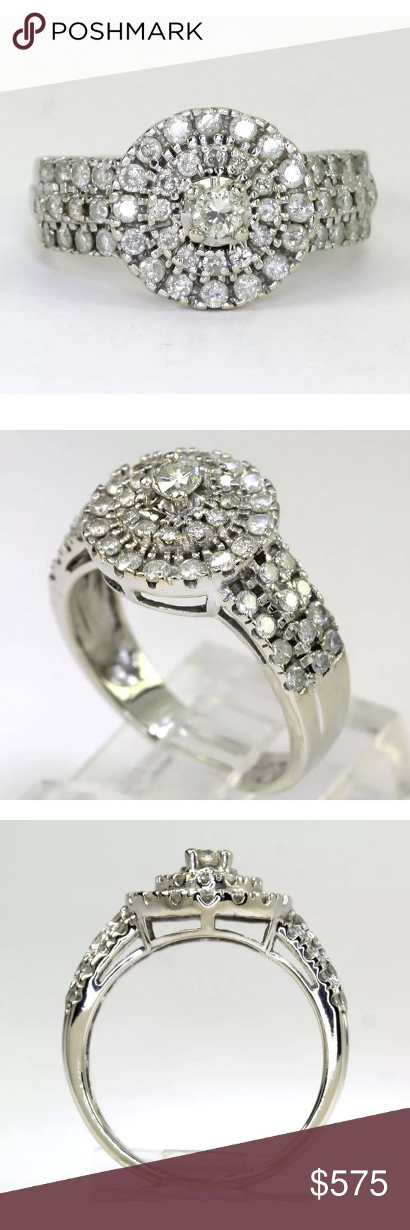 1.25 carat 14k white gold diamond halo ring 1.25 carat 14k white gold diamond halo ring OC Tanner Jewelry Rings