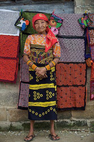 Woman In Front Of Molas - San Blas Islands, Panama