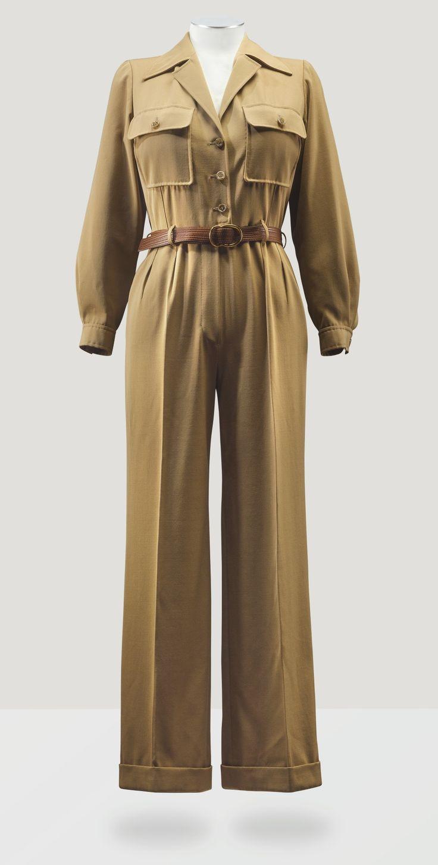 Yves Saint Laurent S/S 1975 Haute Couture camel-hair wool gabardine jumpsuit.