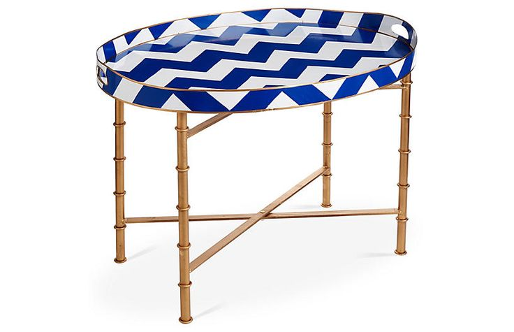 Bargello Chevron Coffee Table, Navy $279.00