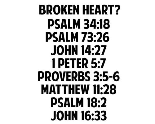 The LORD is close to the brokenhearted and saves those who are crushed in spirit. (Psalm 34:18) My flesh and my heart may fail, but God is the strength of my heart and my portion forever. (Psalm...