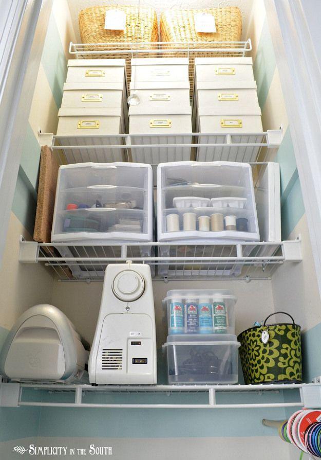 Small craft closet organization