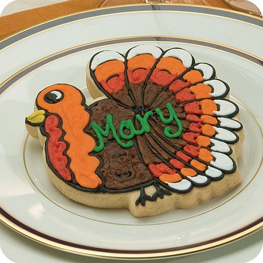 These hand-decorated turkey-shaped cookies can be used for Thanksgiving  place cards, large parties, birthday party, other fall events or are a  great idea ...