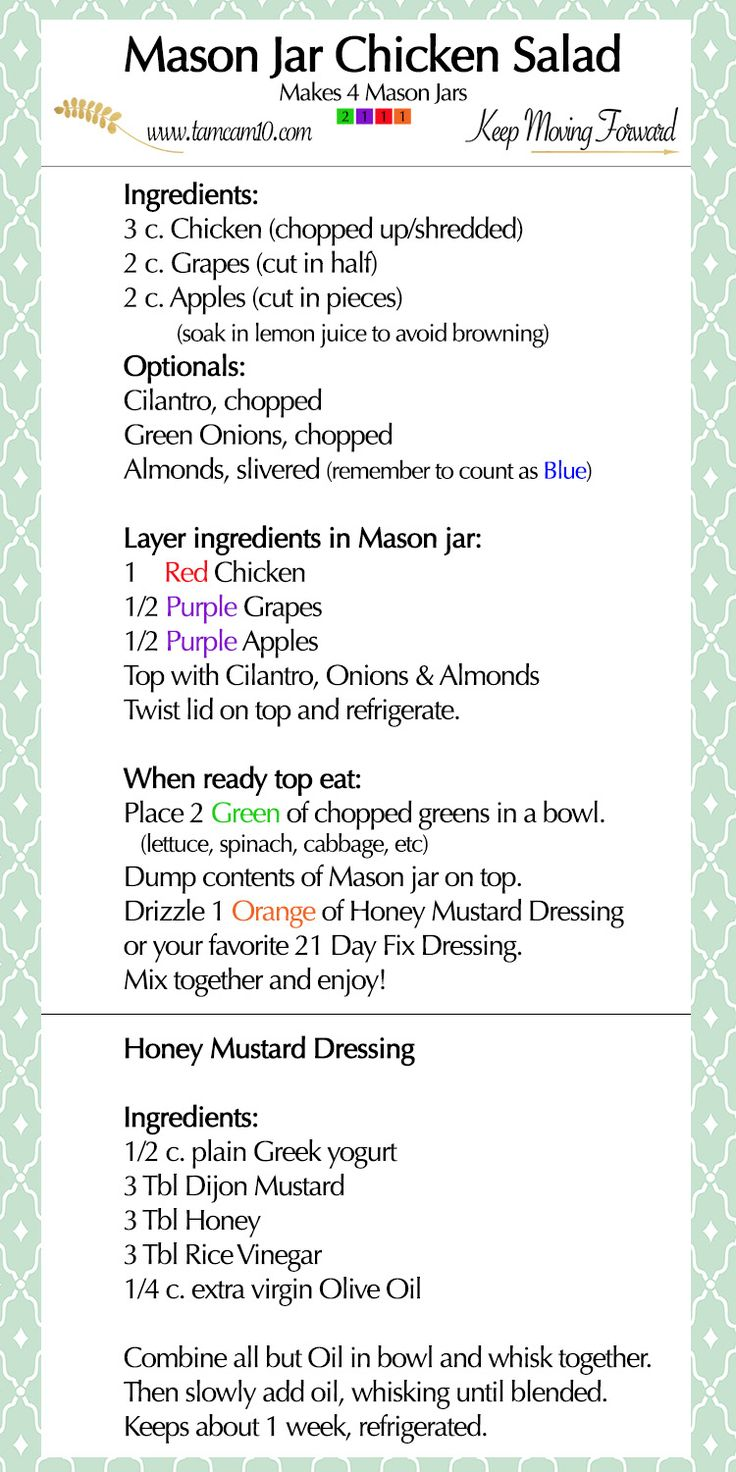 Mason Jar Chicken Salad and Honey Mustard Dressing  – 21 Day Fix Recipes