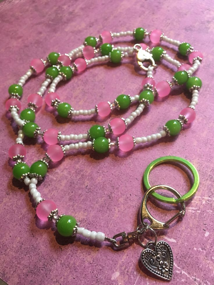 Lime & Pink ❤️ Beaded Lanyard Diy ❤️ Glass beads Love