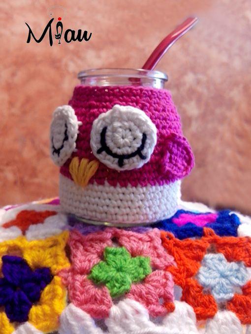 Mates simpáticos #matestejidos, #crochet, #buhos, #miau. Consultas: anaramirez131@gmail.com