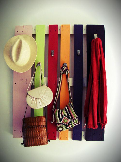 Just use different size pieces of board painted all different colors and you have a cool unique coat rack for a kids room!
