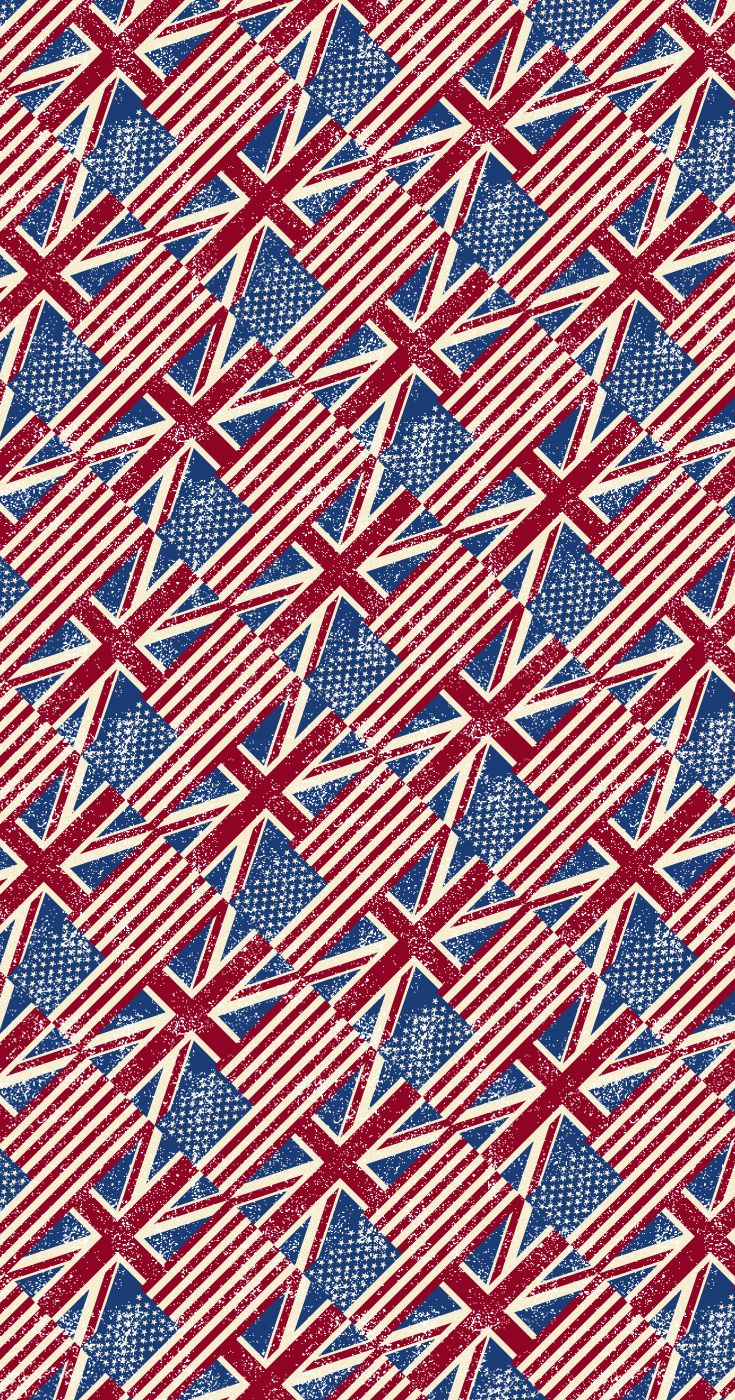 Grunge style Union Jack and American flag man cave wallpaper pattern.