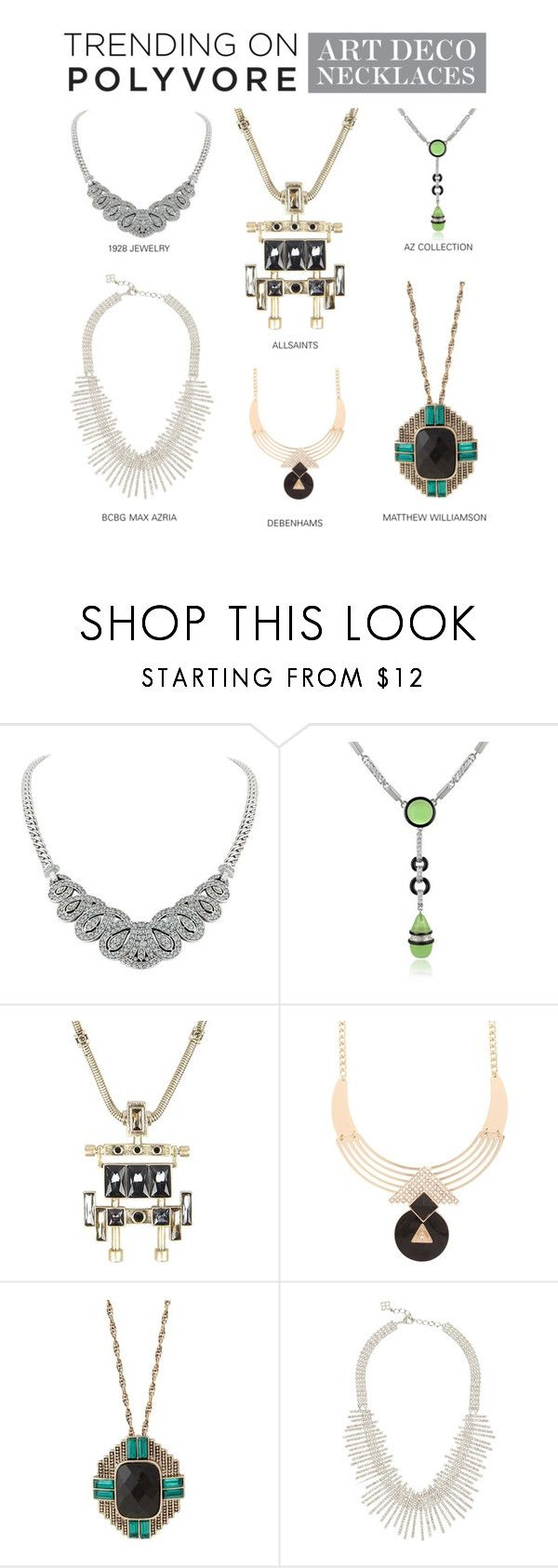 """Trending on Polyvore: Art Deco Necklaces"" by polyvore-editorial ❤ liked on Polyvore featuring 1928, AZ Collection, AllSaints, MOOD, Matthew Williamson, BCBGMAXAZRIA, modern, NowTrending, art deco and art deco jewelry"