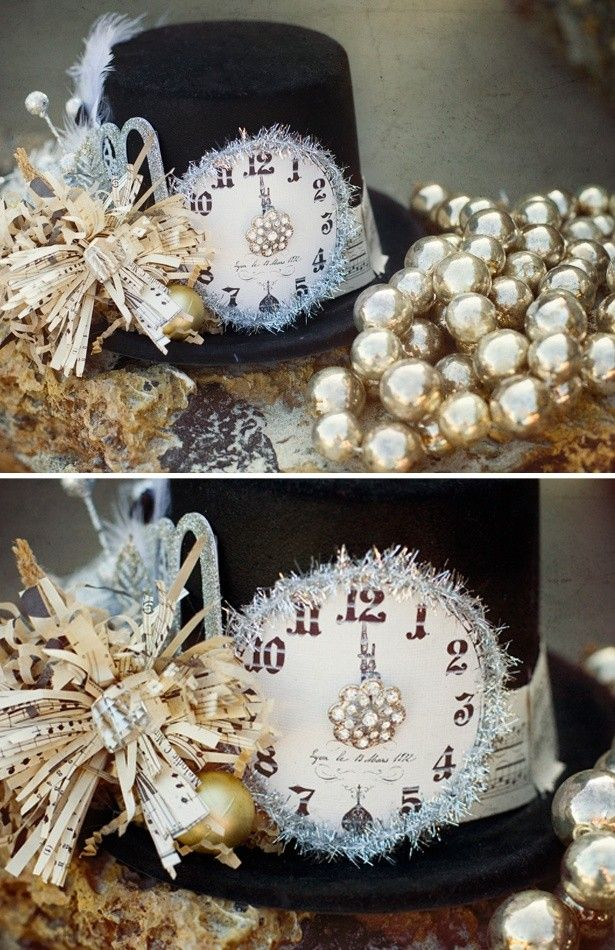 DIY 2015 New Years Printable Clock Hat With Paper Bow