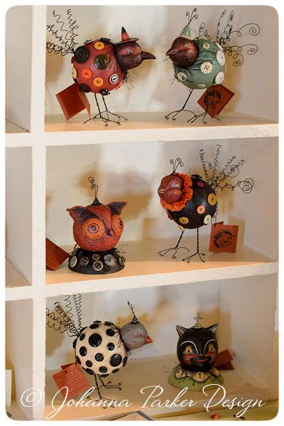 Vignettes from folk artist Johanna Parker at the Everything Recycled Art Market - one of a kind, vintage button-covered characters