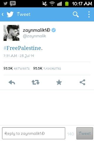 Zayn Malik tweet today, he could've tweet about the Ied Mubarak but he decided to tweet about the Palestine, I've been waiting for this tweet, I always want to know how he felt about Palestine
