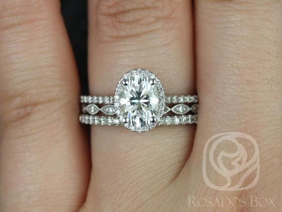 Rebecca 8x6mm & Ultra Petite Leah 14kt White Gold Oval FB Moissanite and Diamond Halo TRIO Wedding Set (Other metals and stones available)