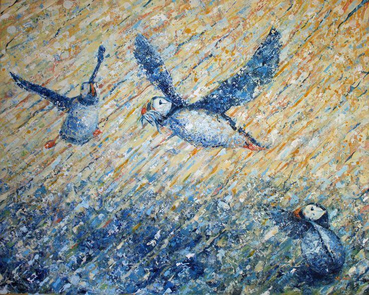 Lykkelige dager - Sissel Endresen - Happy days - atlantic puffins - birds - painting - seabird