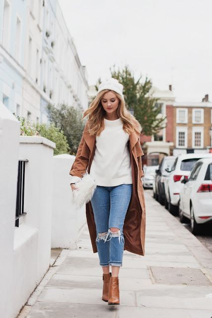 Brown Brown Brown - Long Brown jackets - White Beans and ripped denim jeans