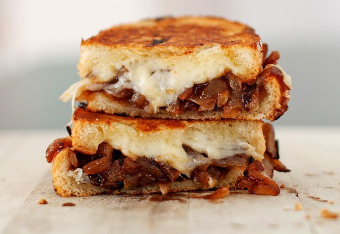 Grilled Cheese With Chipotle Caramelized Onions, Refried Black Beans ...