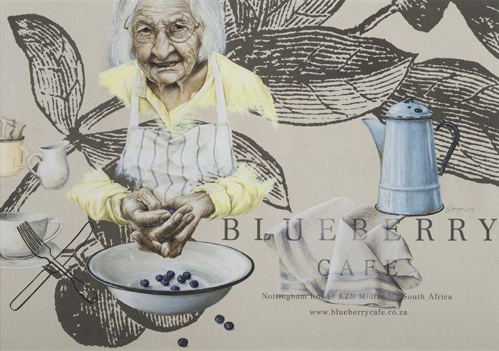 Loeritha Saayman Ouma (Blueberry Hill Cafe) Mixed media on paper (680 x 940mm)