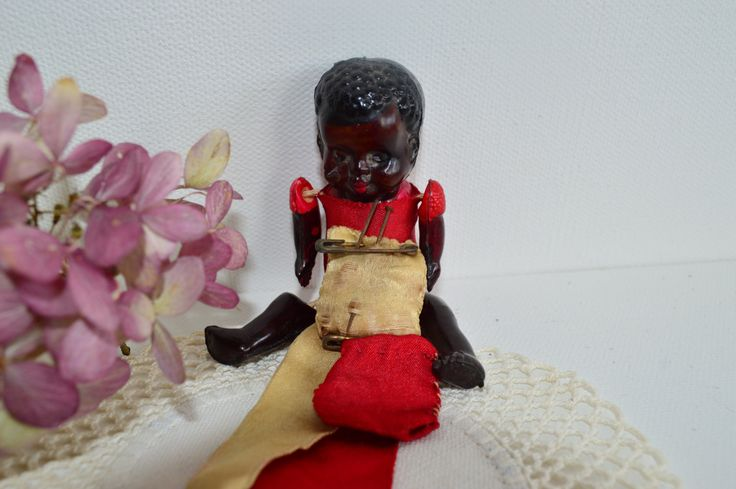 Vintage Black Baby Doll, Black Americana Pincushion, Jointed Celluloid Doll, Japan, 1920s, Doll Collector Gift, Xmas Present for Her by PrettyNiceVintage on Etsy