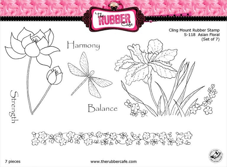 Asian Floral Rubber Stamp Set from The Rubber Cafe