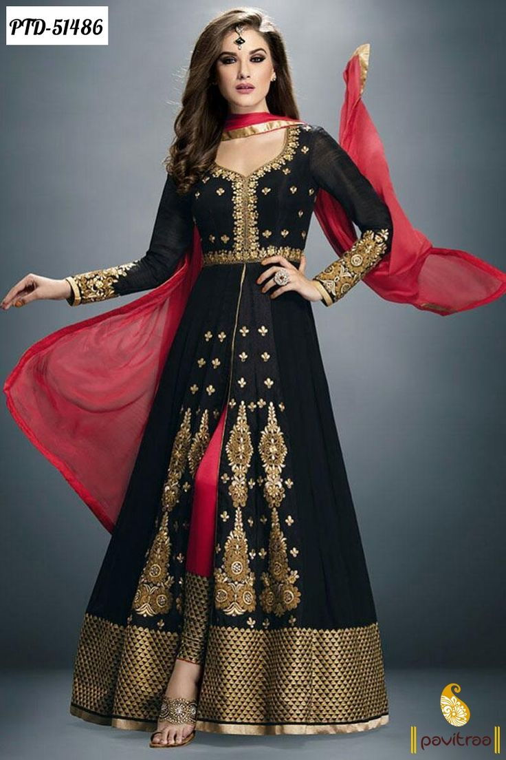Z Fashion Trend: BLACK AND MAROON ANARKALI WITH GOLDEN EMBROIDERY
