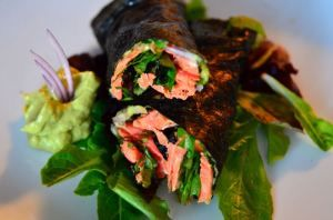 Salmon Wraps using Nori Sheets. Combinations are endless. I make a tuna salad one with lettuce.