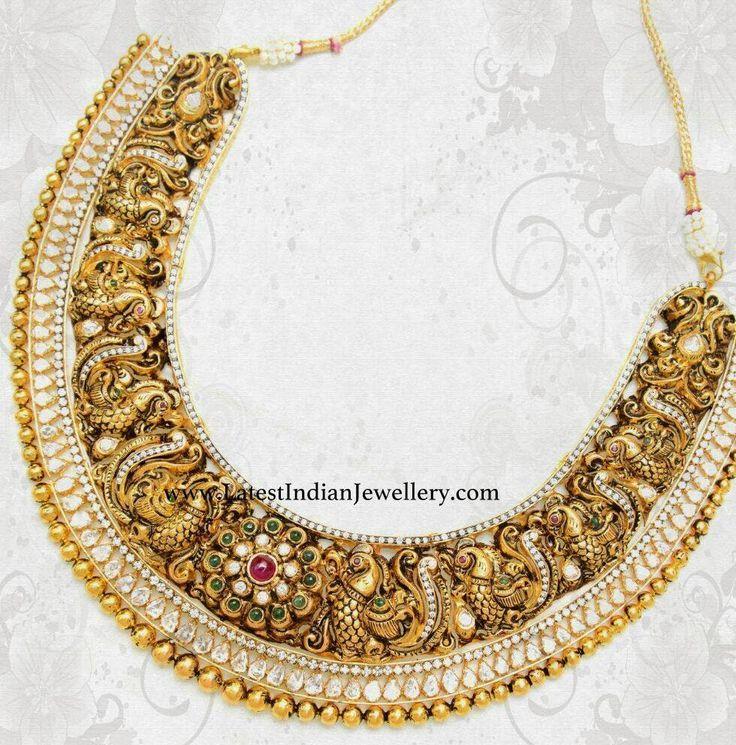 nakshi work parrot design necklace