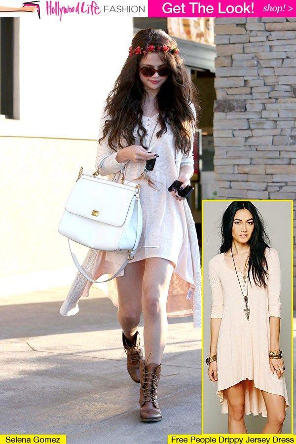 selena gomez soft classic casual dress celebrity