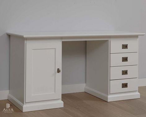 Bureau cm of cm breed hout laden deur landelijk wit